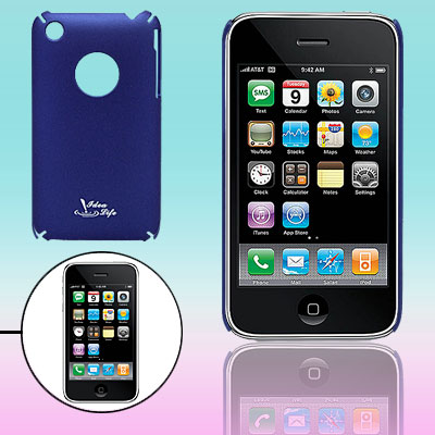 Blue Plastic Protective Back Case for Apple iPhone 3G
