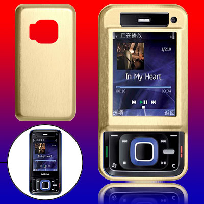 Golden Aluminum Hard Case Cover with Screen Visor for Nokia N81