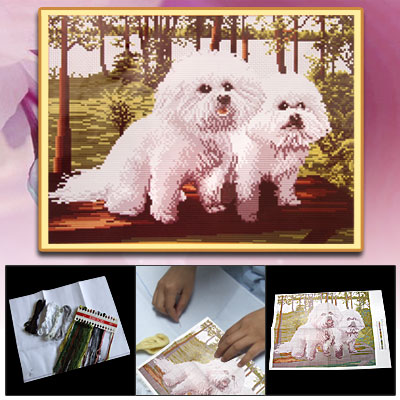 Counted Cross Stitch Cross-Stitch Kit A Couple of Dogs