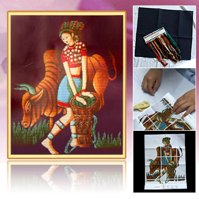 Minority Girl Cattle Counted Cross Stitch Cross-Stitch Kit