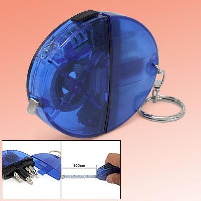 Blue Pocket Measuring Tape Key Chain w/ Screwdriver Bits LED Light