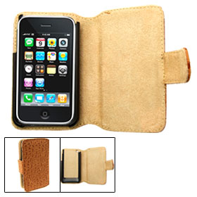Khaki Wallet Style Soft Leather Case with Dots for iPhone 3G / 3GS