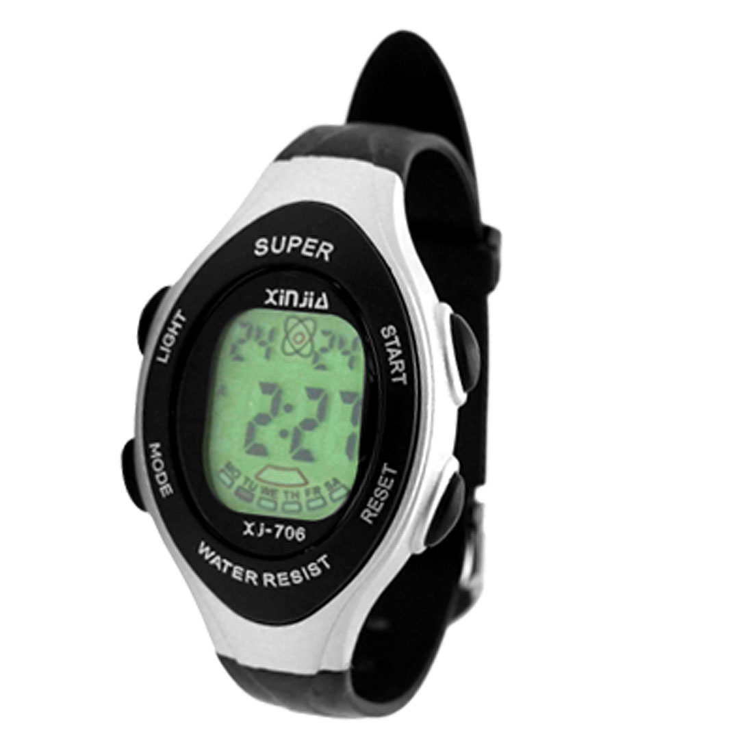 Fashion Children LCD Digital Sports Alarm Wrist Watch Black