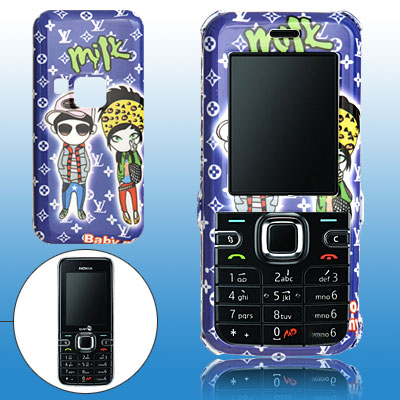 Blue Hard Plastic Case with Cartoon Pattern for Nokia 6122 Classic