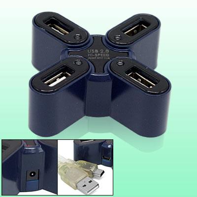 Portable 4 Port USB 2.0 Mini Computer PC Laptop Hub