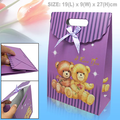 A Couple of Bear Valentine Gift Paper Bag Medium - Purple