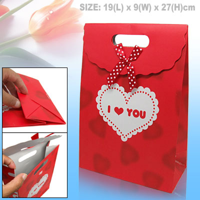 Heart Design Valentine Gift Wedding Favor Red Paper Bag