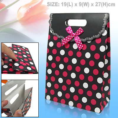 Medium Paper Jewelry Gift Bag Red and White Dots Design