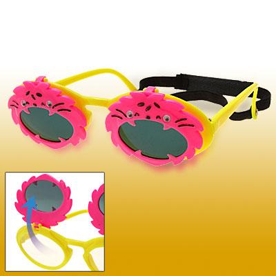 Animal Shaped Flip-up Children Plastic Sunglasses w/ Black Head Strap