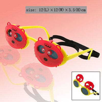 Children Fun Plastic Sunglasses w/ Bear Shape Flip up Frames Red and Yellow