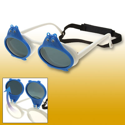 Blue Double Frogs White Flip-up Child Plastic Sunglasses w/ Black hook and loop fastener Head Strap