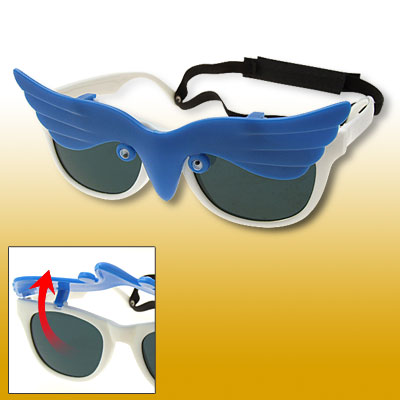 Owl Flip-up Children Plastic Sunglasses w/ hook and loop fastener Head Strap Blue and White