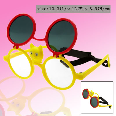 Red and Yellow Cat Flip-up Children Plastic Sunglass w/ Black hook and loop fastener Head Strap