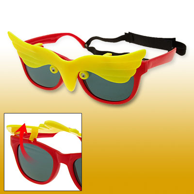 Red and Yellow Owl Flip-up Children Plastic Sunglasses w/ hook and loop fastener Head Strap