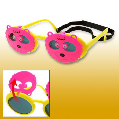 Pink and Yellow Bear Shape Children Fun Plastic Flip-up Sunglasses w/ hook and loop fastener Strap