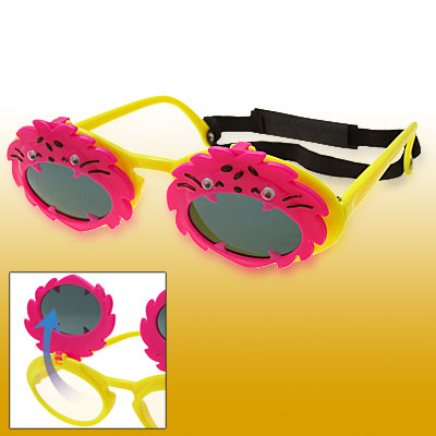 Animal Shaped Flip-up Children Yellow Frame Plastic Sunglasses