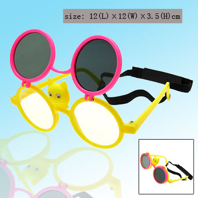 Cat Flip-up Children Plastic Sunglass w/ Black hook and loop fastener Head Strap Pink and Yellow
