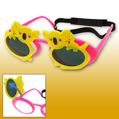Yellow Double Dogs Pink Flip-up Children Plastic Sunglasses w/ Black hook and loop fastener Head Strap