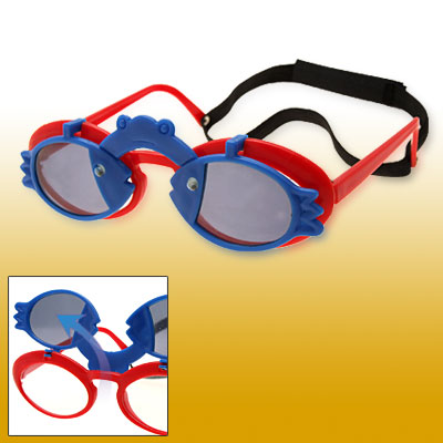 Blue Fish and Frog Red Flip-up Child Plastic Sunglasses w/ Black hook and loop fastener Head Strap