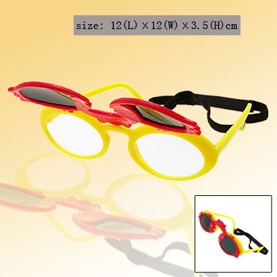 Red Double Fish Yellow Flip-up Child Plastic Sunglasses w/ Black hook and loop fastener Head Strap
