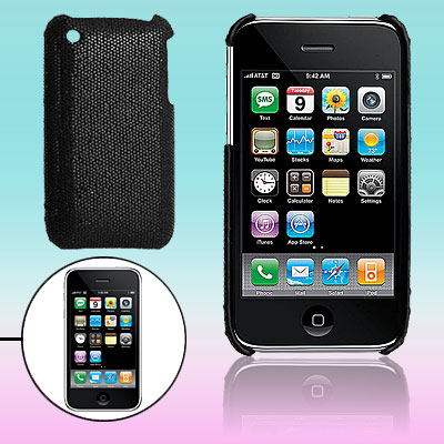 Glittery Black Hard Plastic Back Case for Apple iPhone 3G / 3GS