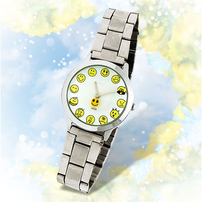 Steel Band Faces Icon Funny Man's Wrist Watch