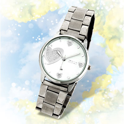 Sweet Heart White Dial Woman's Steel Band Dress Watch