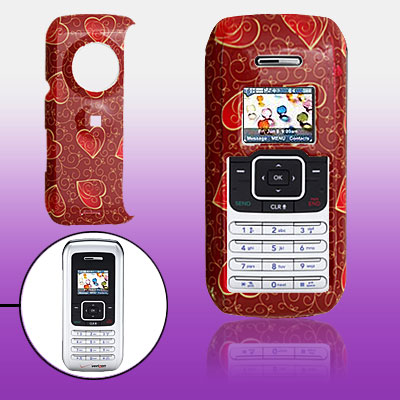 Crimson Hard Plastic Case with Red Heart Pattern for LG VX9900