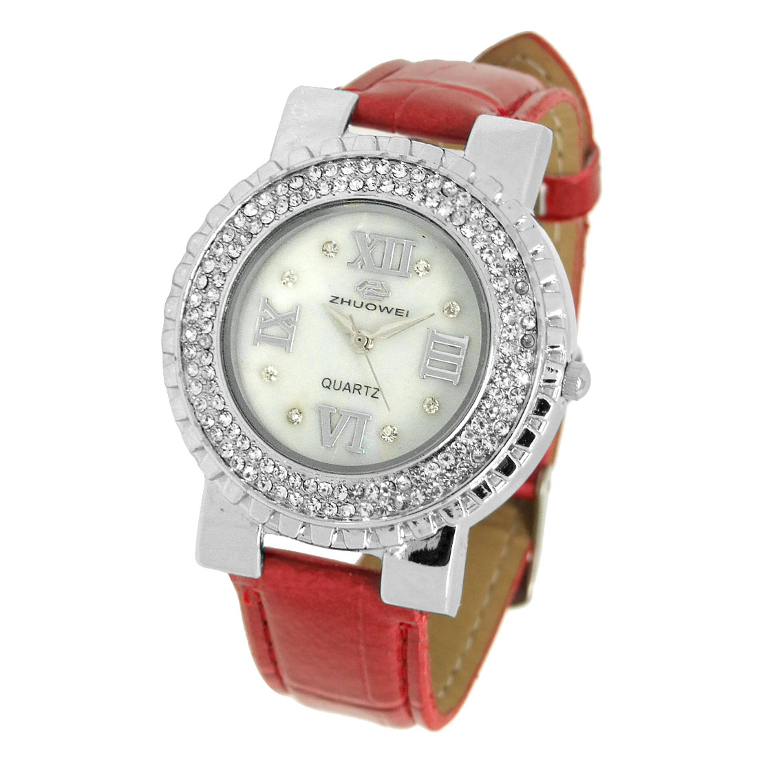 Round Face Ladies Crystal Wrist Watch Red Leather Strap