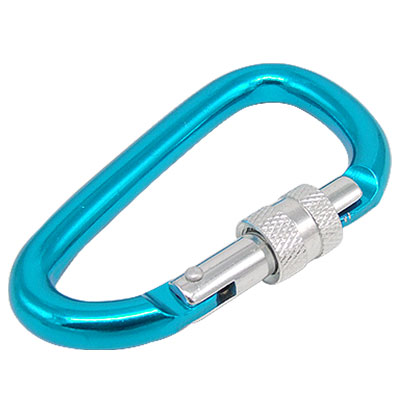Bi-colored Painted Blue Silvery D Shaped Aluminum Locking Carabiner