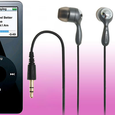 Fashion Black In Ear 3.5mm Earphone Headphone for MP3 MP4,Fashion Black Earphone