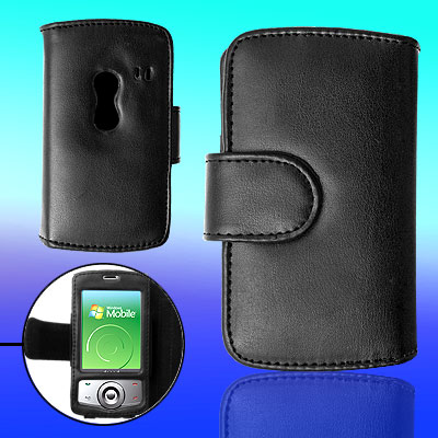 Black Wallet Style Leather Case for Dopod P860