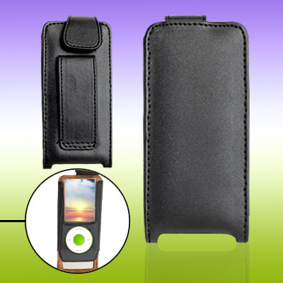 Hook and Loop Fastener Leather Case Pouch for iPod Nano Chromatic 4th Generation 4G