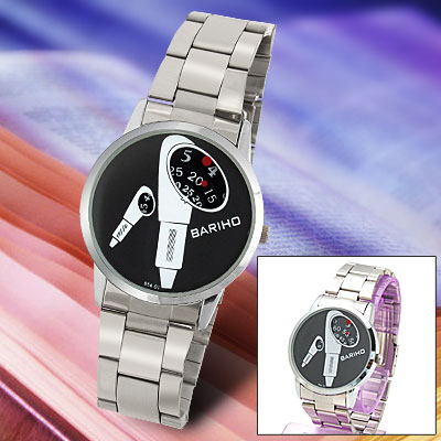 White Microphone Pattern Black Dial Metal Watchband Round Men's Watch