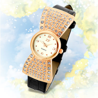 Fashion Jewelry Rhinestones Lady's Watch with Black Band