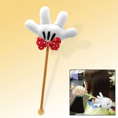 Elegant Four White Stuffed Fingers Long Wooden Handle Massage Stick