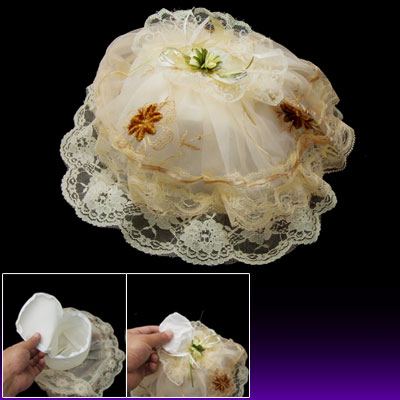 Round Lace Fabric Tissue Box Cover for Bedroom Bathroom