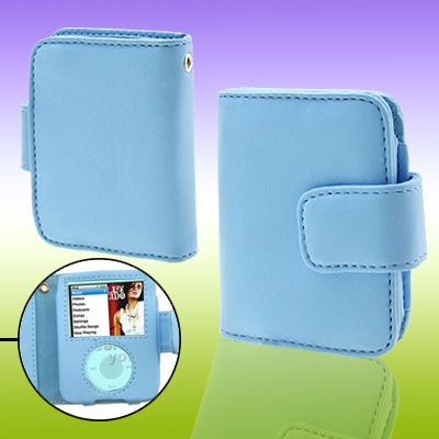 Blue Wallet Style Leather Case for iPod Nano 3G