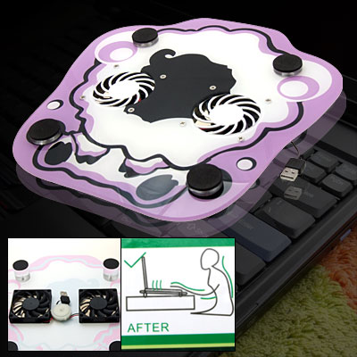 Anti-slip USB 2 Fans Notebook Cooling Pad