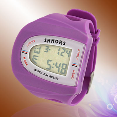 Purple Ladies Girls Scutellate Digital Sports Wrist Watch