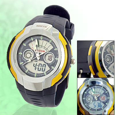 50 Meters Water Resistant Cold Light Round Electronic Sports Watch 12/24H