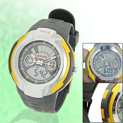 Cold Light Water Resistant Round Electronic Sports Watch w/ Resinous Plastic Watchband