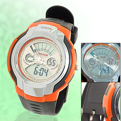 Fifty Meters Water Resistant Cold Light Sports Watch with Black Strap