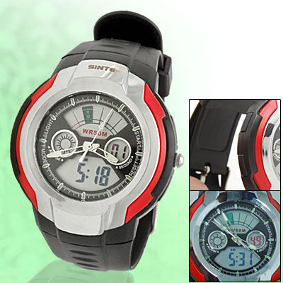 50 Meters Water Resistant Cold Light Plastic Round Electronic Sports Watch - Black