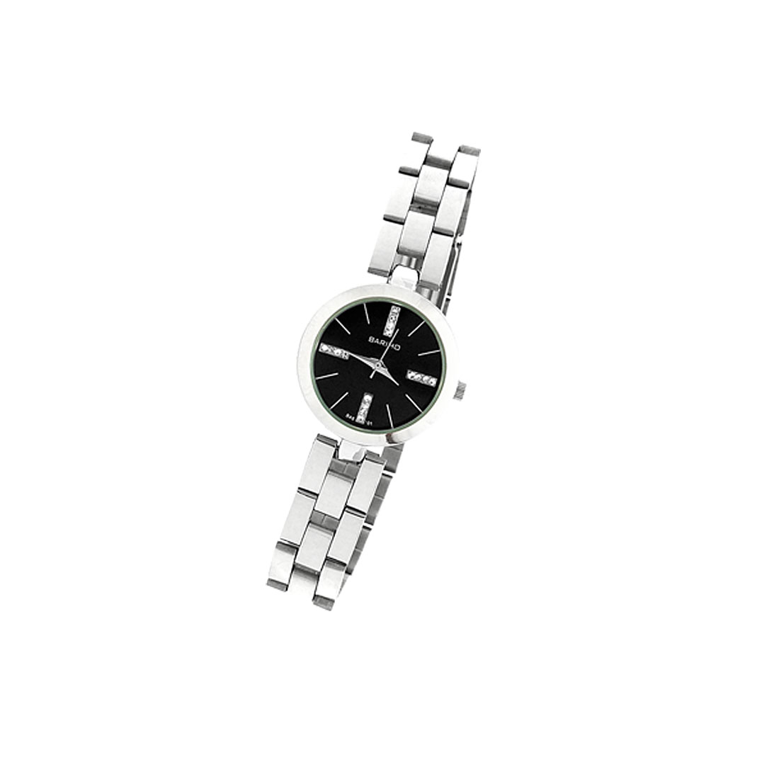 Black Dial Metal Band Fashion Jewelry Lady's Round Watch