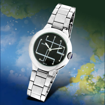 Round Black Dial Fashion Jewelry Watch for Men