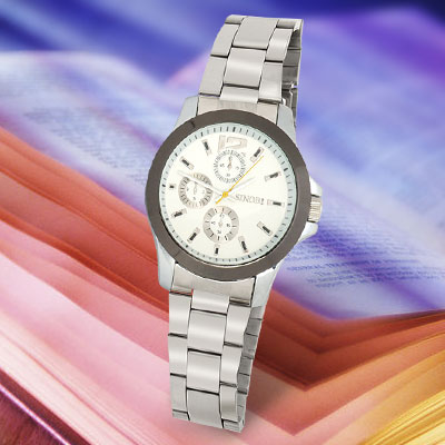 Men's White Dial Stainless Steel Round Watchcase Watch