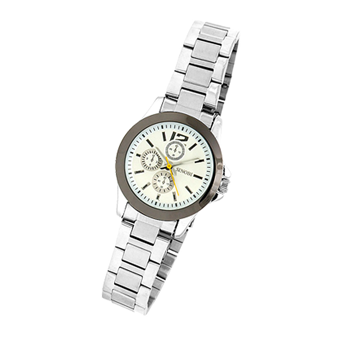 Fashion Metal Band White Dial Round Watchcase Lady's Watch