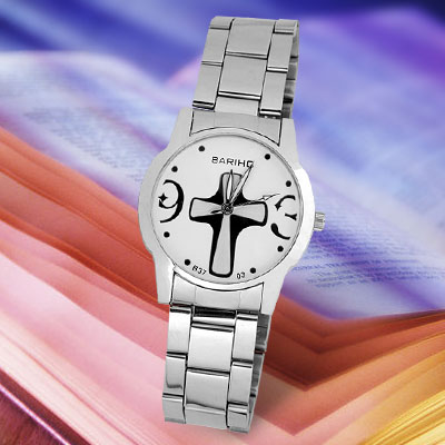 Women's Round White Dial Dress Watch with Big Cross Pattern