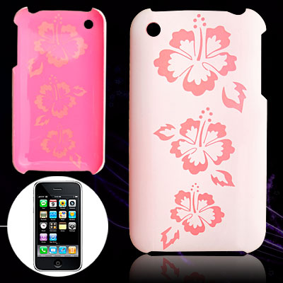 Pink Flower Pattern Hard Plastic Back Case for iPhone 3G / 3GS